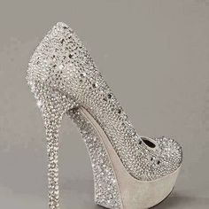 cinderella bridal heels- These look like something my daughter would wear she loves bling Hot Shoes, Crazy Shoes, Me Too Shoes, Pretty Shoes, Beautiful Shoes, Awesome Shoes, Bling Bling, Bling Shoes, Bedazzled Shoes