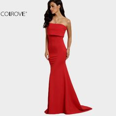 COLROVE Summer Style Elegant Sexy Occasion Red Strapless Maxi Dresses New Arrival New Sleeveless Long Dress Oh just take a look at this! Visit us Fashion 2017, Trendy Fashion, Fashion Outfits, Fashion Trends, Color Fashion, Fashion Clothes, Style Fashion, Latest Fashion, Strapless Maxi