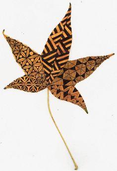 Zentangle sur feuille d'automne