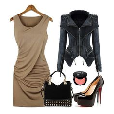 Love this Outfit Idea! Sexy Draped Khaki + Black Pleated Collarless Skinny Stretch dress