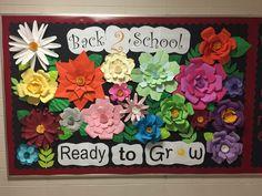 Back to school Flower Bulletin Boards, Nurse Bulletin Board, Class Bulletin Boards, Bulletin Board Borders, Bulletin Board Display, Classroom Bulletin Boards, Classroom Crafts, Classroom Themes, Bullentin Boards