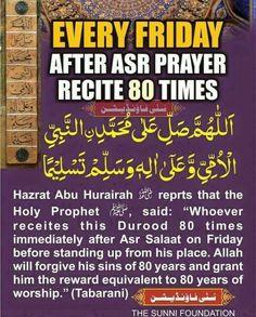 Dua after asr prayer. on Friday, recite 80 times Muslim Love Quotes, Religious Quotes, Islamic Love Quotes, Islamic Teachings, Islamic Dua, Asr Prayer, Duaa Islam, Islam Hadith, Allah Islam