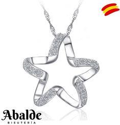 Collar Joya Mujer Corazón Lleva Grabada Estrella y Se Abre Plata Regalo ideal