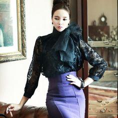 Flower Blouse (scarf set) black blouse luxury blouse dint 딘트