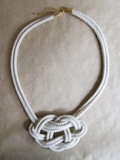 Knot Rope Necklace - Natural Unbleached Cotton and Gold Plate.