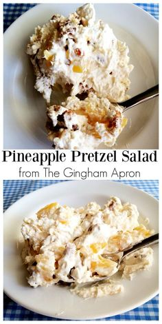 Pineapple Pretzel Salad: the perfect combination of salty and sweet. The sugar c… Pineapple Pretzel Salad: the perfect combination of salty and sweet. The sugar coated pretzels put this salad over the top. Köstliche Desserts, Delicious Desserts, Yummy Food, Plated Desserts, Fluff Desserts, Pudding Desserts, Pineapple Pretzel Salad, Pineapple Fluff, Strawberry Pretzel Salad