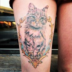 Cat Tattoo On Thigh - 55 Thigh Tattoo Ideas  <3 <3 {This would be real cute with a portrait of Runt!}