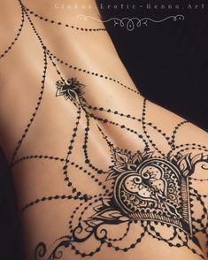 "Tattoos""Erotic Mehndi"": The Incredible Henna Art By Mary Ginkas – Design You Trust""Erotic Mehndi"": The Incredible Henna Art By Mary Ginkas – Design You Trus. Spine Tattoos, Sexy Tattoos, Cute Tattoos, Body Art Tattoos, Sleeve Tattoos, Finger Tattoos, Arm Tattoo, Henna Back Tattoos, Sexy Stomach Tattoos"