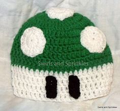 Crochet, patterns, free, easy, hat, super mario, 1-up mushroom, yarn Swirls and Sprinkles, child hat, adult hat