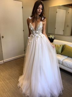 Vestido De Noiva 2019 Beach Wedding Dresses Long A-Line Deep V Neck Pearls Flowers Saudi Arabic Wedding Gown Bridal Dresses Tulle Wedding Dresses, Floral Prom Dresses, V Neck Wedding Dress, Beaded Prom Dress, Backless Prom Dresses, Backless Wedding, Cheap Prom Dresses, Cheap Wedding Dress, Bridal Gowns
