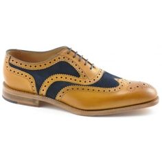 This is a stylish brogue shoe made from burnished calf leather and featuring a fine punched brogue detail and a Goodyear Welted sole. These shoes have a unique appearance with their tan and navy suede inlays, making this Oxford semi-brogue a very distinctive style. http://www.marshallshoes.co.uk/mens-c1/loake-mens-tarantula-tan-calf-leather-navy-suede-oxford-brogue-shoe-p4419