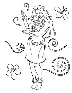 1000 images about coloring pages at on for Hula girl coloring page