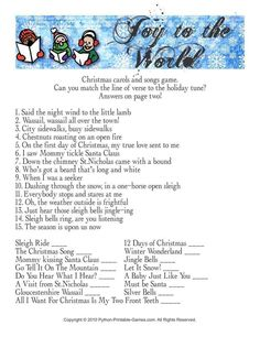 Get some Christmas Trivia Games and add some extra fun to your holiday party! There are lots of places to find trivia games about Christmas and this page is one of them. There's some trivia questions and answers at the bottom of the page for you to enjoy. Xmas Games, Holiday Games, Christmas Party Games, Christmas Activities, Christmas Traditions, Holiday Fun, Christmas Gift Exchange Games, Holiday Ideas, Office Christmas