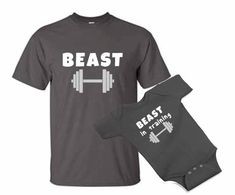 b084a705ae5fd BEAST in training dad and baby one piece bodysuit Tshirt matching set -  father's day - gym lifting daddy dad and son gift set