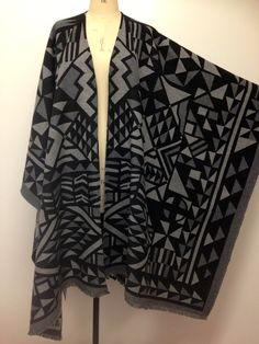 Oversized Wool Poncho - Black Charcoal Grey Abstract Unisex Poncho - Winter Blanket Capes Poncho for Men - Tribal Poncho Cape -  Handmade UK by CardamomClothing on Etsy