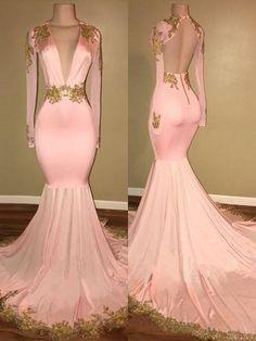 Mermaid V-neck Sweep/Brush Train Long Sleeves Silk like Satin With Applique Dresses,P1322