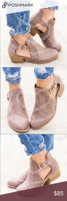 🌟LA CUTOUT BOOTIES IN Taupe🌟Available now!🍾 🌟LA CUTOUT BOOTIES IN Taupe🌟 Soft, and comfortable. Stylish and practical for spring, fall, and warmer climate winters. Available now!🌹sizes 7.5, 9, 10. True to size. Shoes Ankle Boots & Booties