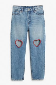 Monki image 1 of taiki cut out hearts in blue outfits одежда своими руками, Diy Jeans, Jeans Refashion, Painted Jeans, Painted Clothes, Diy Clothing, Custom Clothes, Customised Clothes, Diy Fashion, Fashion Outfits