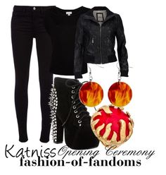 """""""Katniss Opening Ceremony"""" by fofandoms ❤ liked on Polyvore featuring J Brand, Serious Sally, Jeffrey Campbell, Blu Bijoux, katniss everdeen, katniss, hunger games and hunger games fashion"""