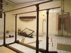 "A photograph of the basement gymnasium at the American Gilded Age mansion, Biltmore Estate. Originally the residential home of, George Washington Vanderbilt 11, and his wife Edith Dresser Vanderbilt, located in Asheville, North Carolina. The mansion was constructed between, c.1889 - c.1895 by American architect, Richard Morris Hunt. The mansion is now opened to the public for viewing. ~ {cwlyons} ~  (Image from: ""Biltmore Estate A National Historic Landmark"", c.1993 edition)"