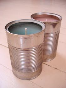 Soup Can Candle Upcycle: I can also use cans to hold all my candles in my apartment. Even though I can't light them, I can definitely decorate my place with them!