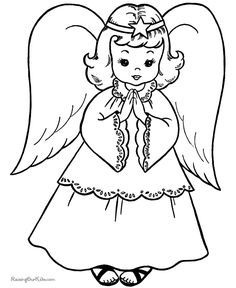 angel pictures to print and color | Free Printable Christmas Coloring Sheets - Christmas Angel!