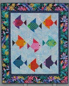"A nine fish version of my original ""Swimmies"" fish quilt pattern. Fish Quilt Pattern, Baby Quilt Patterns, Quilting Patterns, Ocean Quilt, Beach Quilt, Cute Quilts, Small Quilts, Quilt Baby, Quilting Projects"