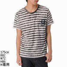 Tシャツ(ムラ染ボーダーTシャツ(49)) /ヘリテイジストーン(Heritage stone)