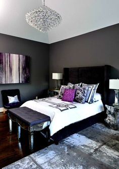I like the contrast of dark and light with vivid, rich color. Though i would prefer teal to purple. I don't like purple.I also don't like the bench and how square the headboard and lamps are.