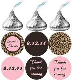 108 Bridal Shower Hershey Kiss Stickers -  Personalized Leopard Skin Glam Candy Labels for Party Favors. $5.00, via Etsy.