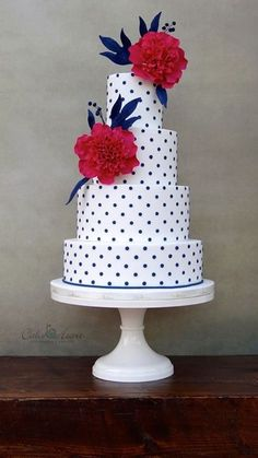 Peonies & Polka Dots Cake in Fuchsia & Navy by Cake Heart