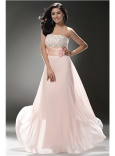 Strapless Beaded Empire Column Shape Floor Length Skirt with Hamdmade Flower Decoration Beautiful Prom Dress : Dressbraw.com