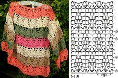 Diy Crochet Patterns, Crochet Diagram, Crochet Chart, Crochet Motif, Crochet Lace, Crochet Stitches, Crochet Projects, Crochet Jumper, Crochet Cardigan