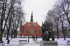 Old Town Hall and Jan Heweliusz statue, Gdansk Baltic Sea, Town Hall, Old Town, Poland, Backpack, Statue, City, Travel, Outdoor