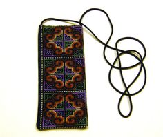 Cross Stitch Embroidered Eye Glass Case Pouch - (purple green brown white)