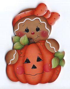 HP GINGERBREAD Girl with Pumpkin FRIDGE MAGNET #Handpainted