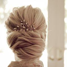 "Real Bride Stina..Renee Pawele Bride ""vonya"" headpiece with blush pearls #bridal #hairstyle #updo"