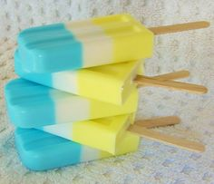 Blue & Yellow Soap Popsicle  Natural Soap Handmade by crimsonhill, $4.50
