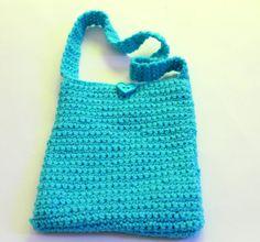 Crocheted Handbag in Aqua by Grandmasandeze on Etsy