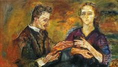 """Hans Tietze and Erica Tietze-Conrat - Oskar Kokoschka 1909. """"A powerful dialogue of hands"""" - """"Even though a couple, they are painted as if they were unrelated"""" Kandel in """"The Age of Insight."""""""