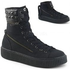 Removable Cuff Black Canvas High Top Sneaker - New at GothicPlus.com - your source for gothic clothing jewelry shoes boots and home decor. #gothic #fashion #steampunk