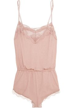 Eberjey | Estelle Teddy lace-trimmed stretch-jersey playsuit