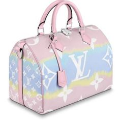 The Louis Vuitton Speedy Escale 30 Giant Limited Edition Pastel Pink Coated Canvas Shoulder Bag is a top 10 member favorite on Tradesy. Luxury Purses, Luxury Bags, Pink Handbags, Purses And Handbags, Coach Handbags, Coach Bags, Sacs Louis Vuiton, Sacs Design, Cute Purses