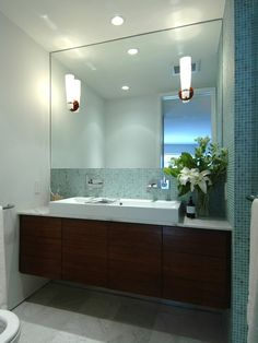 big ole mirror  Spaces Oceanside Tessera Glass Tile Design, Pictures, Remodel, Decor and Ideas - page 15