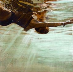 "Carol Bennett ~ 'Bracelet'  Oil on wood ""She takes the viewer underwater for a meditative journey where she seeks to find a state of being in ""flow"" – the suspension of self and of life as usual to a place where time slows down and the unexpected floats to the surface. For Bennett, in the way, the act of swimming underwater is similar to the process of painting."" via Artist a Day"