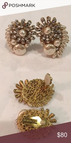 """Haskell Vintage Earrings Haskell vintage clip-on earrings. Exceptional design and quality costume piece. Faux baroque pearl and rhinestone crystals. Beads are wired to the delicate filigree back. I don't know if these are authentic Miriam Haskell as they are only stamped """"Haskell.""""  My research leads me to believe they might be. Either way they are a work of art. Haskell Jewelry Earrings"""