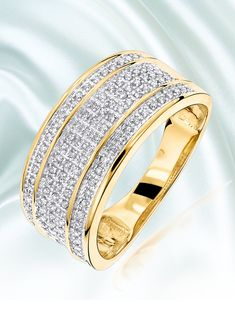 This Beautiful 5 Row Diamond Wedding Band By Luxurman In 10k Gold Showcases 0 4 Carats Of Dazzling Pave Set Round C Rings For Men 10k Gold Unique Wedding Bands