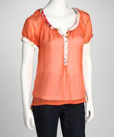 Take a look at this Orange Silk Top by Da-Nang on #zulily today!