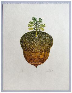 """""""ACORN"""" Woodcut Print by Tugboat Printshop / Valerie Lueth"""