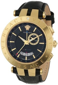Versace Men's V-RACE Round Yellow Gold Ion-Plated Stainless Steel GMT Alarm... - http://watchesntime.com/versace-men-s-v-race-round-yellow-gold-ion-plated-stainless-steel-gmt-alarm/